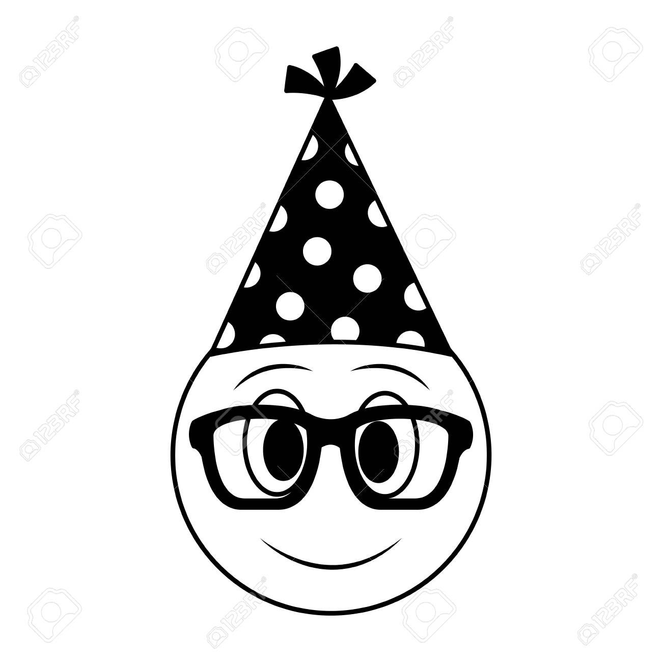 Birthday Face Emoji With Glasses Party Hat Vector Illustration Stock