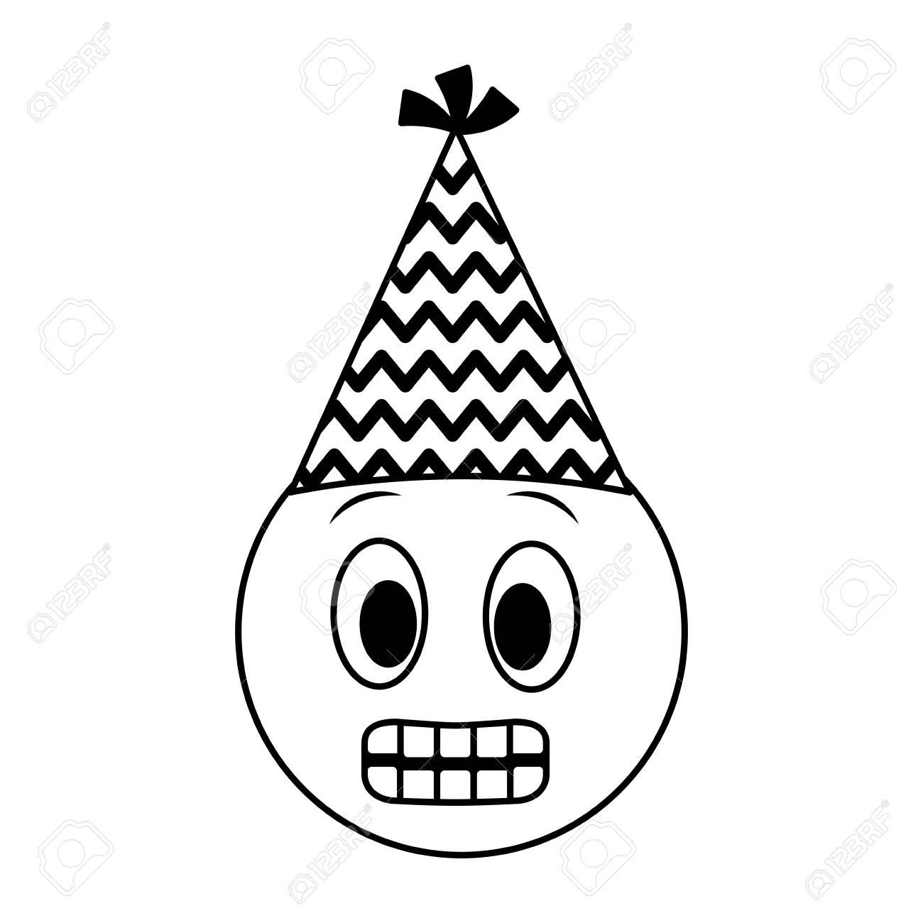 Birthday Emoji Grinning Face Party Hat Vector Illustration Stock