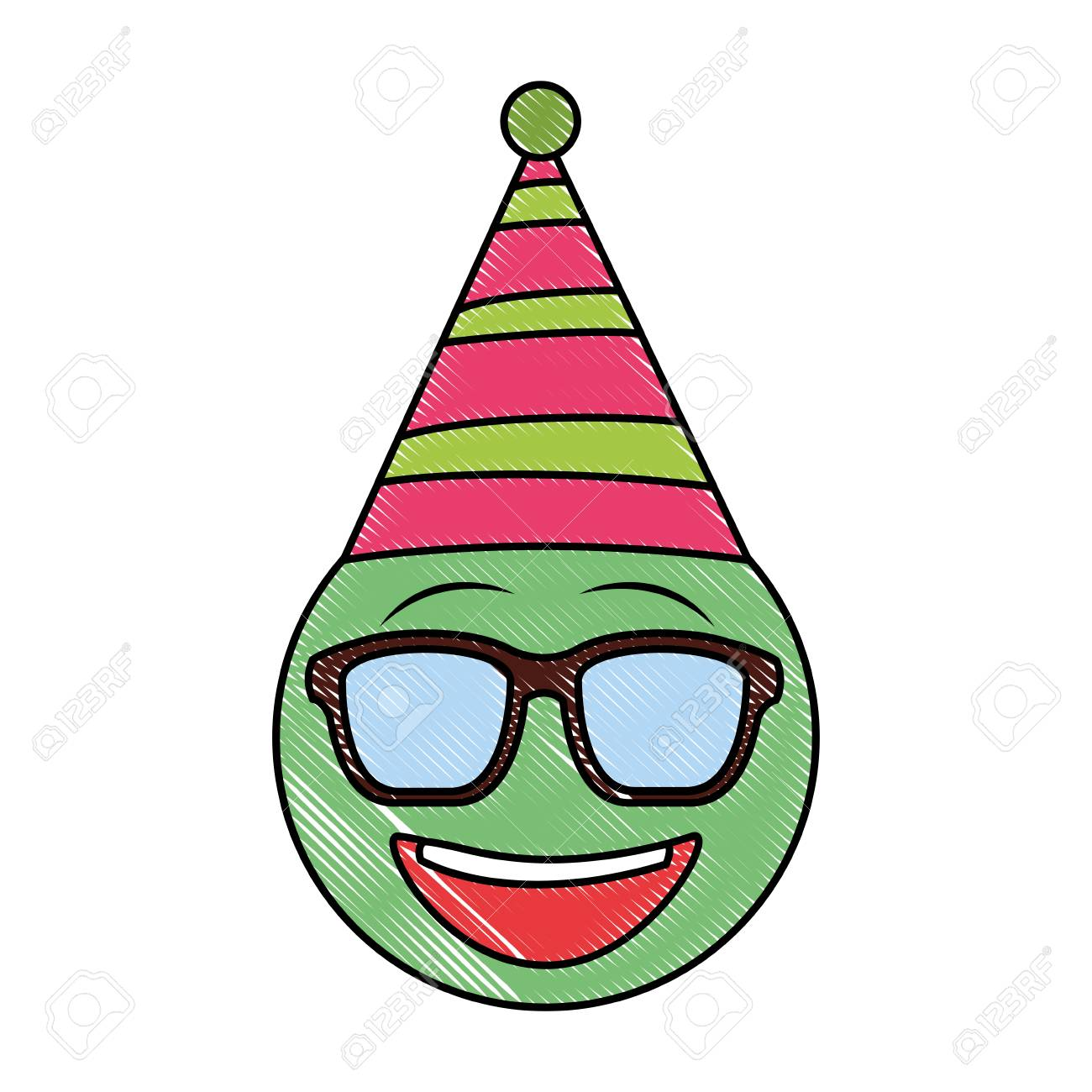 Birthday Emoji With Sunglasses Party Hat Vector Illustration Stock