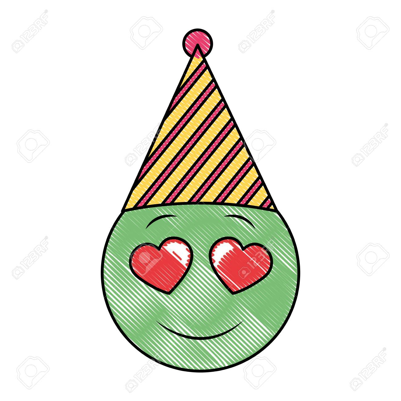 Birthday Face Emoji In Love Party Hat Drawing Vector Illustration Stock