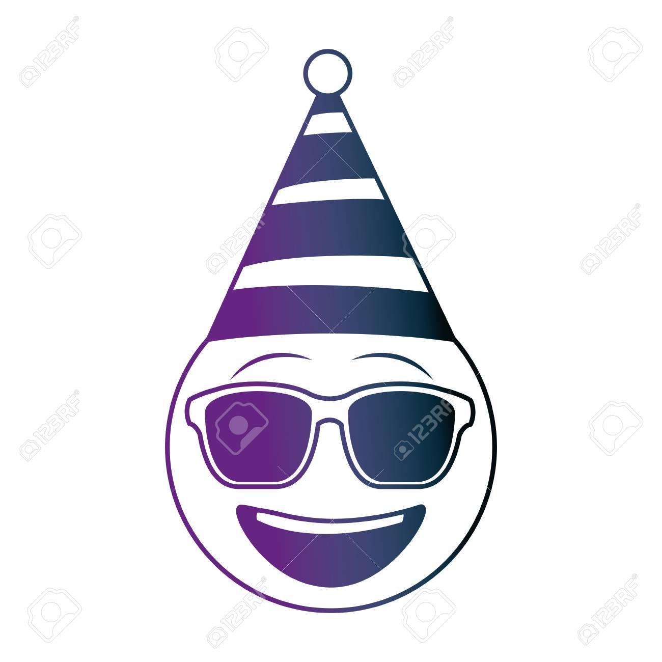 Birthday Emoji With Sunglasses Party Hat Vector Illustration Neon Standard Bild