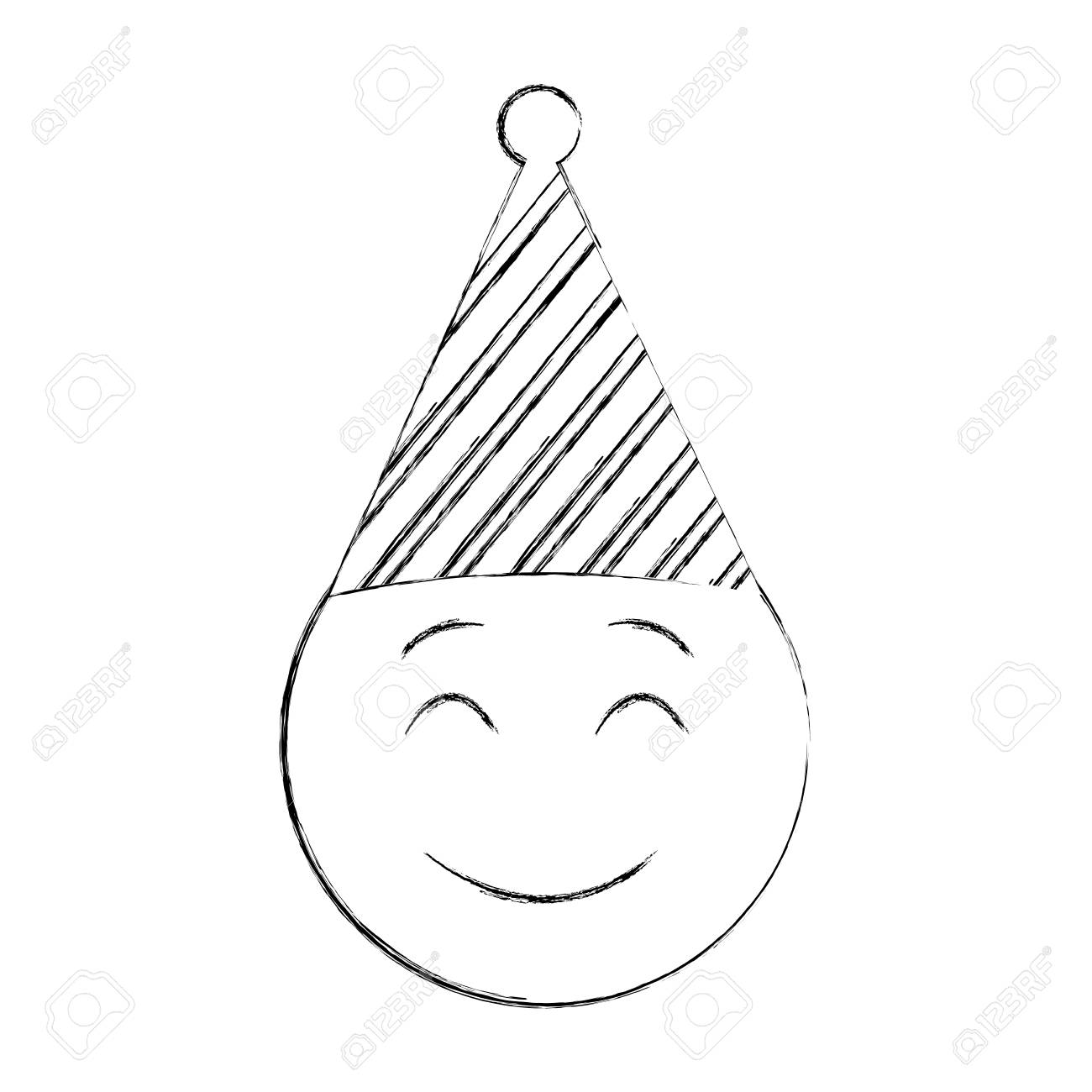 Birthday Smiley Emoji Party Hat Vector Illustration Hand Drawing Stock