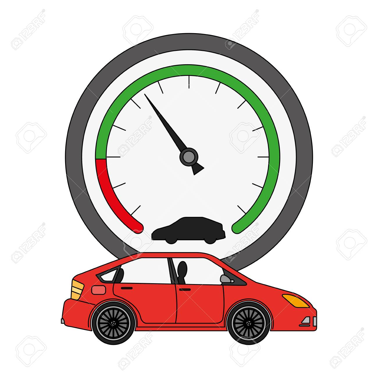 speed gauge with car isolated icon vector illustration design - 106217645