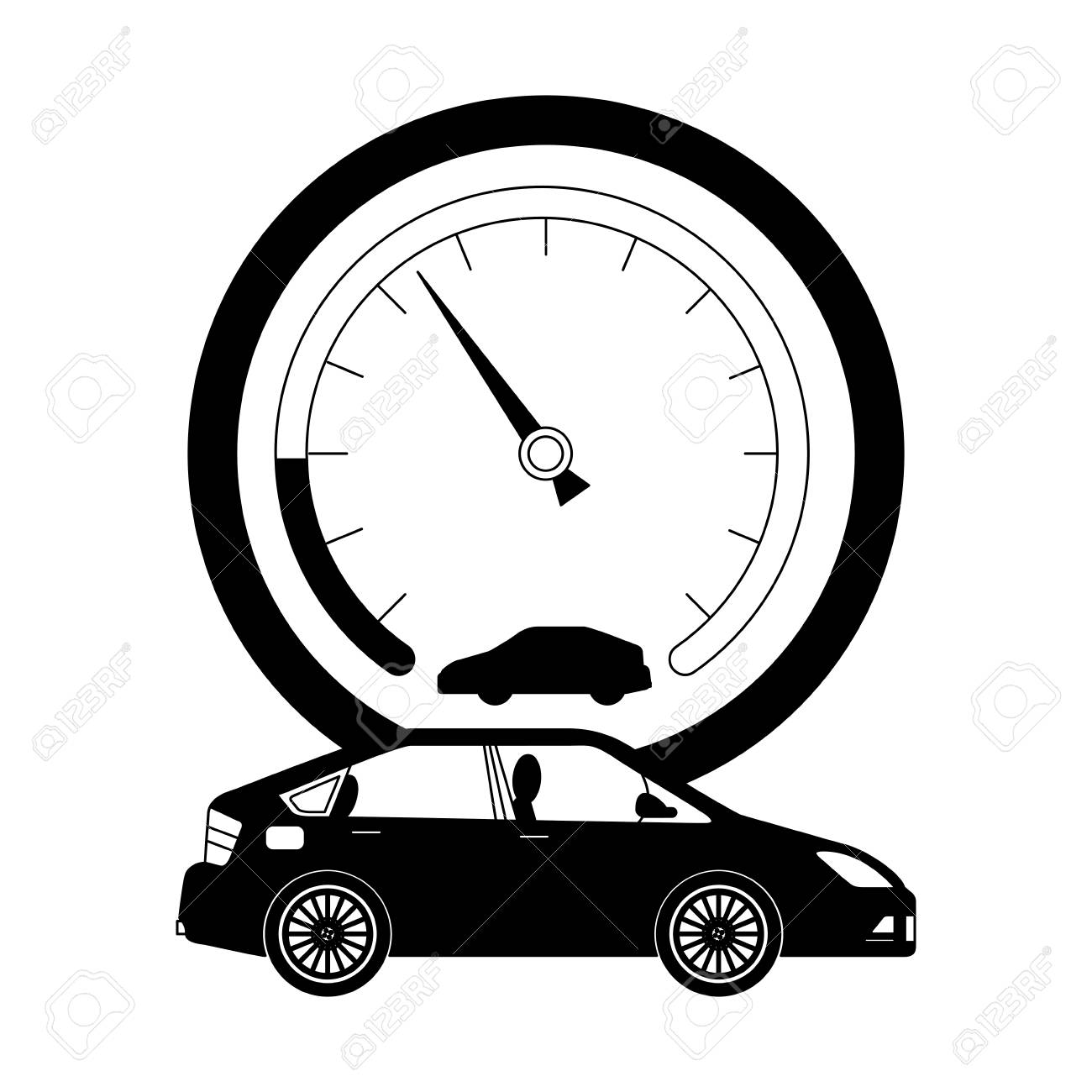 speed gauge with car isolated icon vector illustration design - 112070746