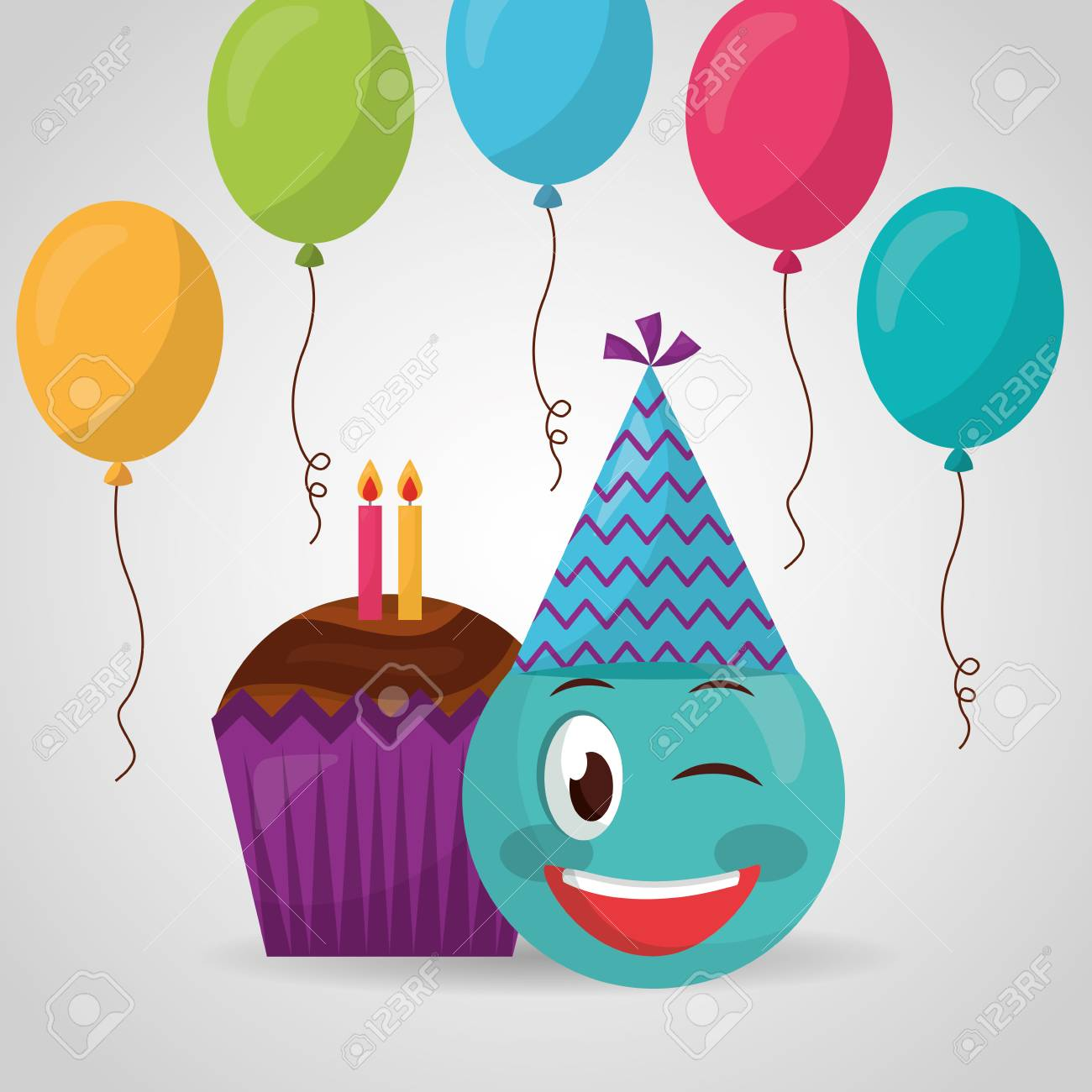 Happy Birthday Emoji Stinging The Eye Balloons Cake Candles Vector Illustration Stock