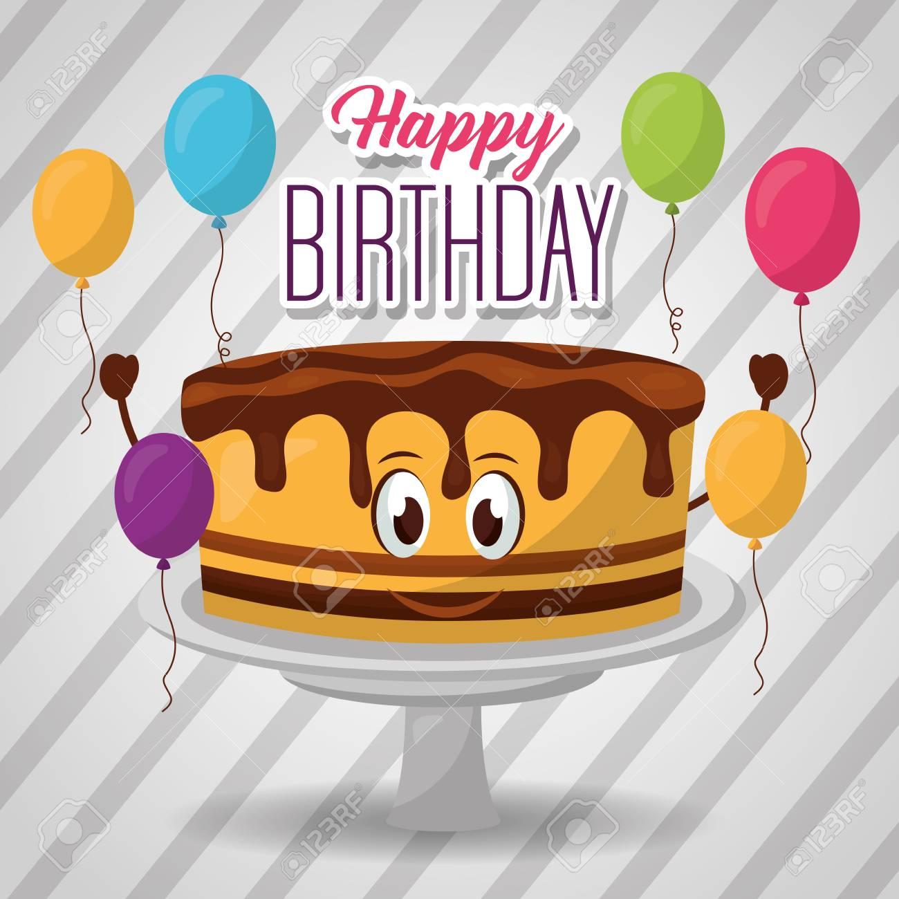 Happy Birthday Cake Eyes Chocolate Balloons Colors Sign Vector Illustration Standard Bild
