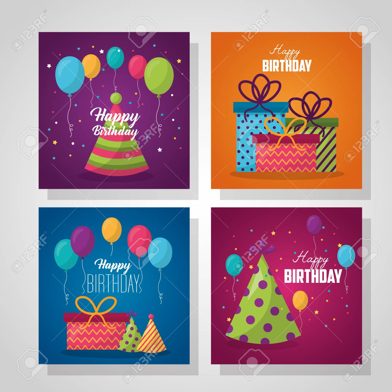 Happy Birthday Labels Party Celebration Cakes Gift Boxes Balloons