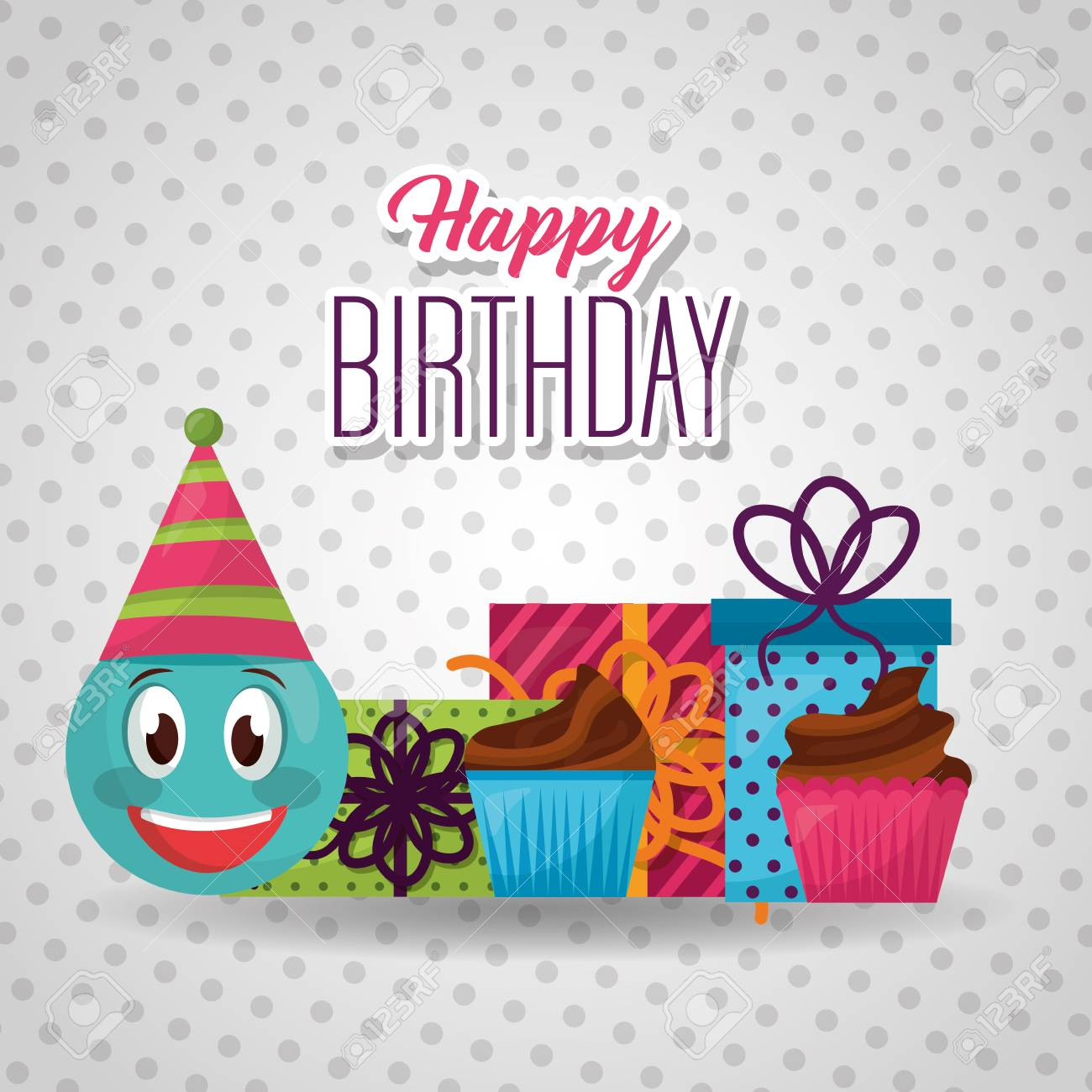 Happy Birthday Emoji Smiling Party Hat Gift Boxes Cakes Vector