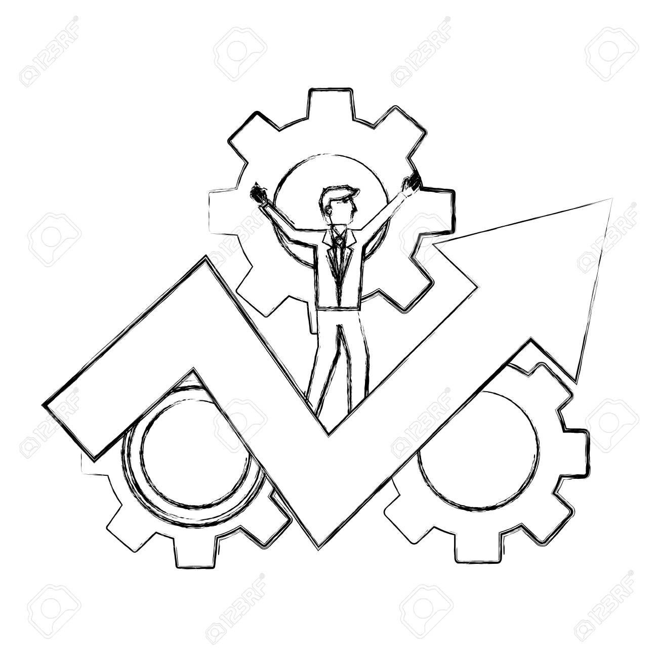 businessman on success arrow business gears vector illustration hand drawing - 106459249