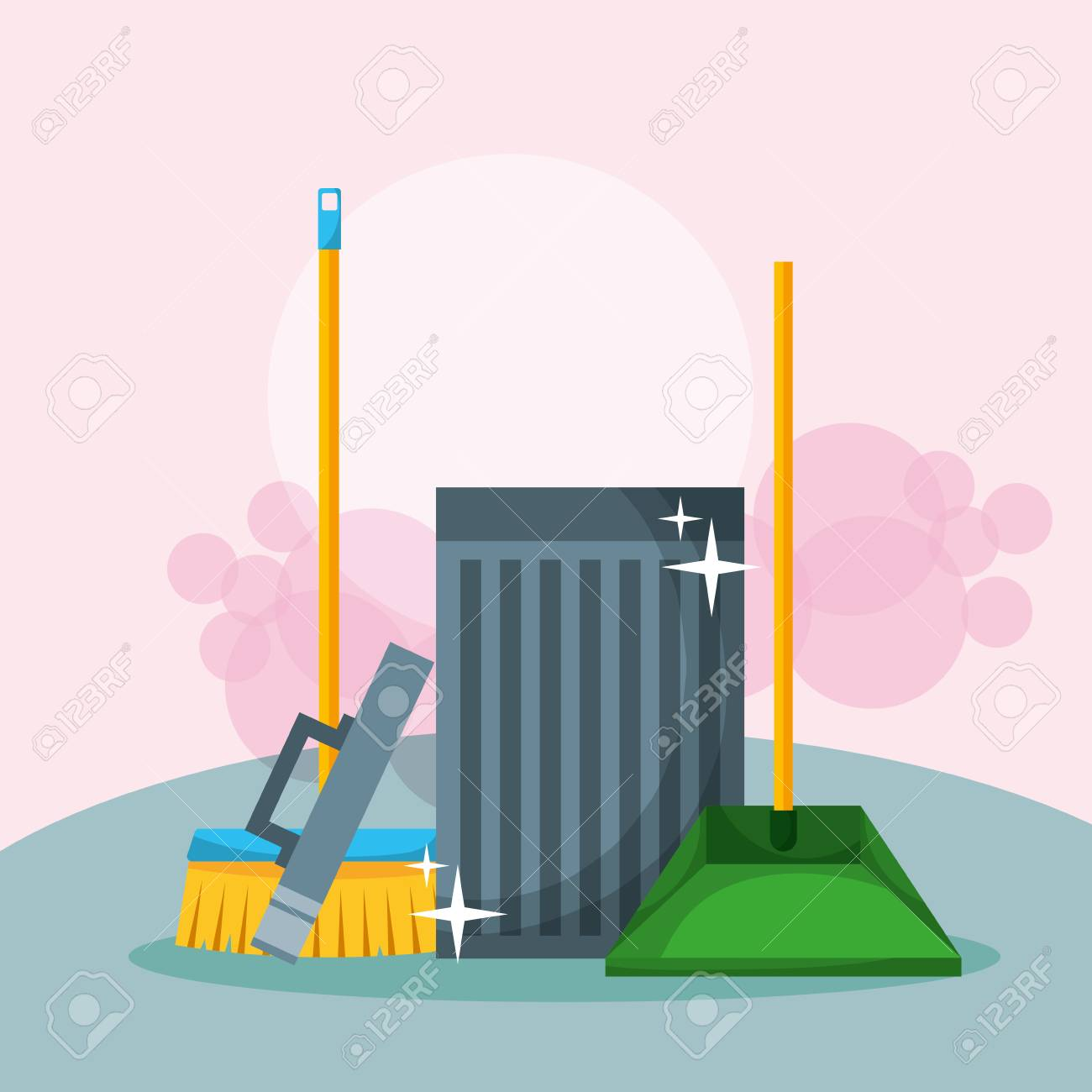 open trash can broom and dustpan cleaning vector illustration - 106459383