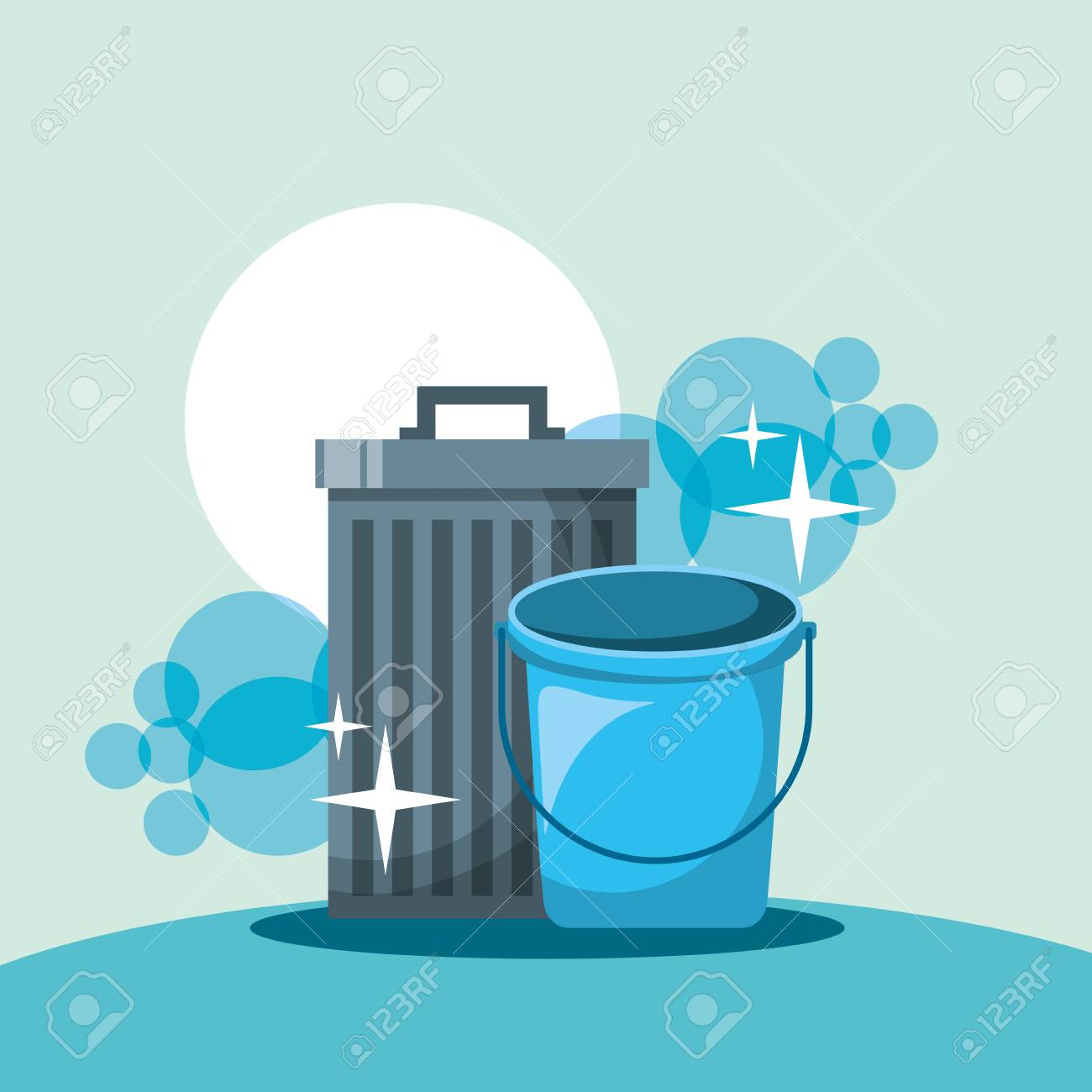trash can bucket cleaning tools vector illustration - 111977419