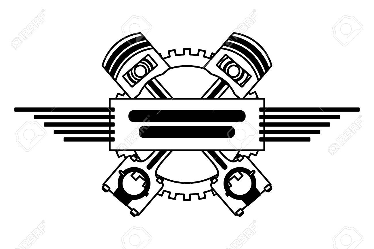 crossed pistons gear engine industry automotive vector illustration - 111927469