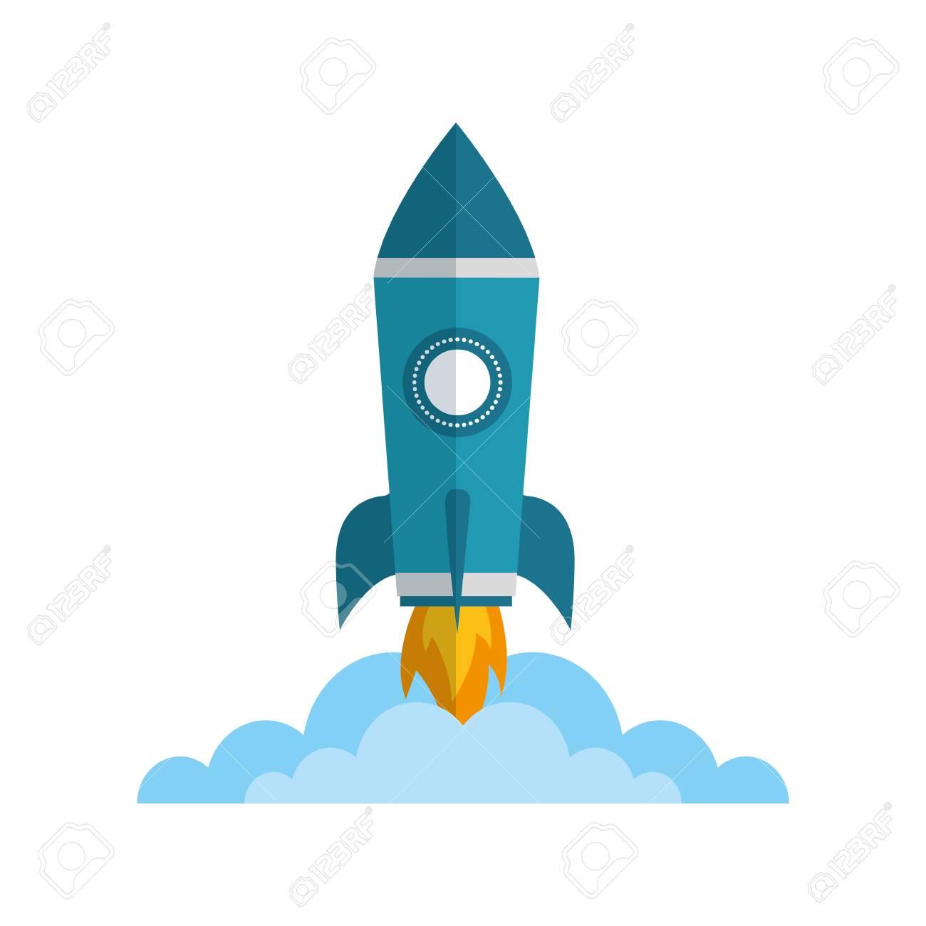 rocket launch startup cartoon image vector illustration - 111927808