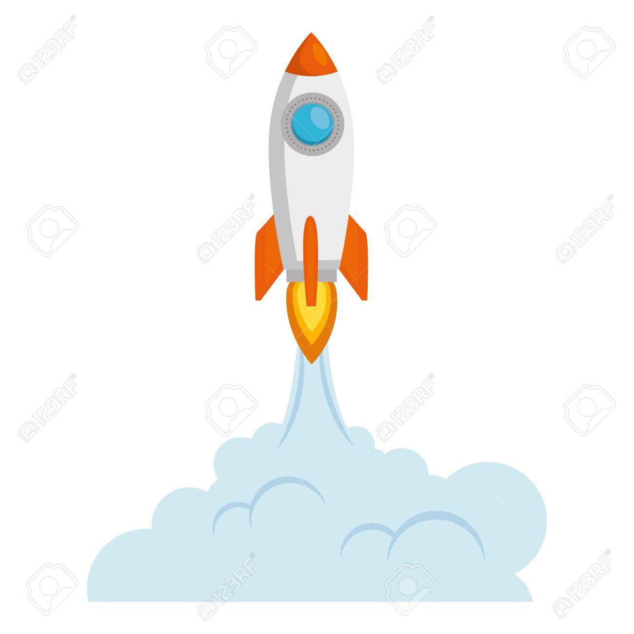 rocket start up with smoke vector illustration design - 106566681