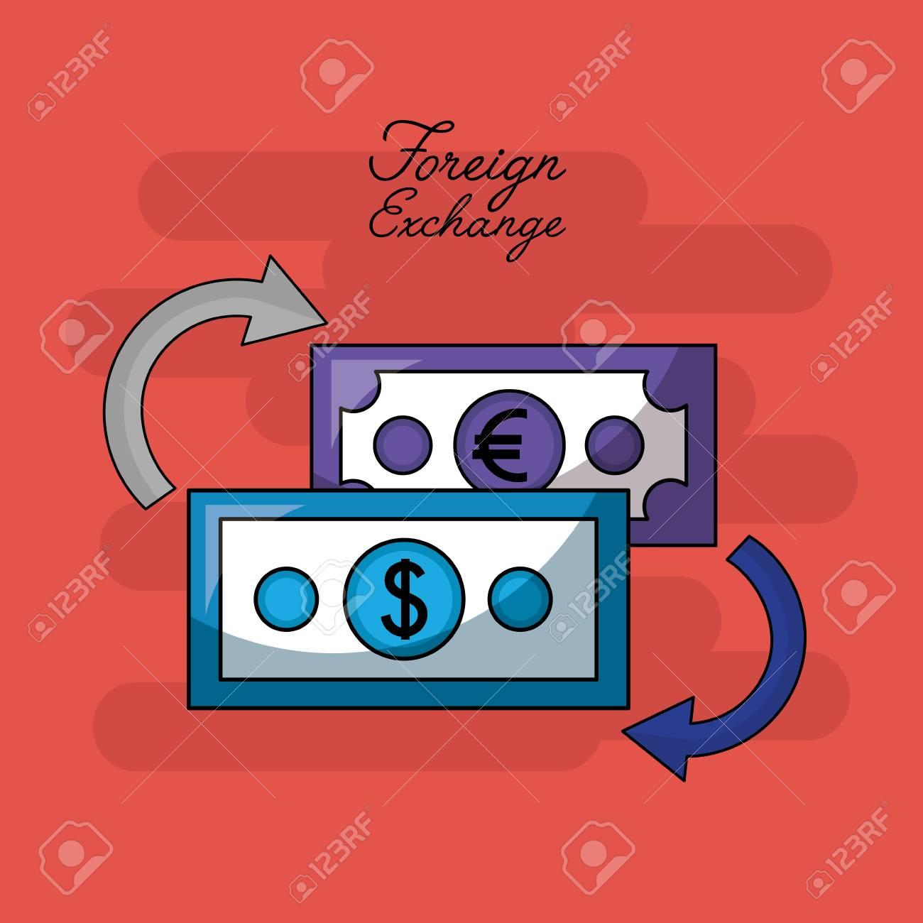foreign exchange money euro dollar retro style background vector illustration - 111861427