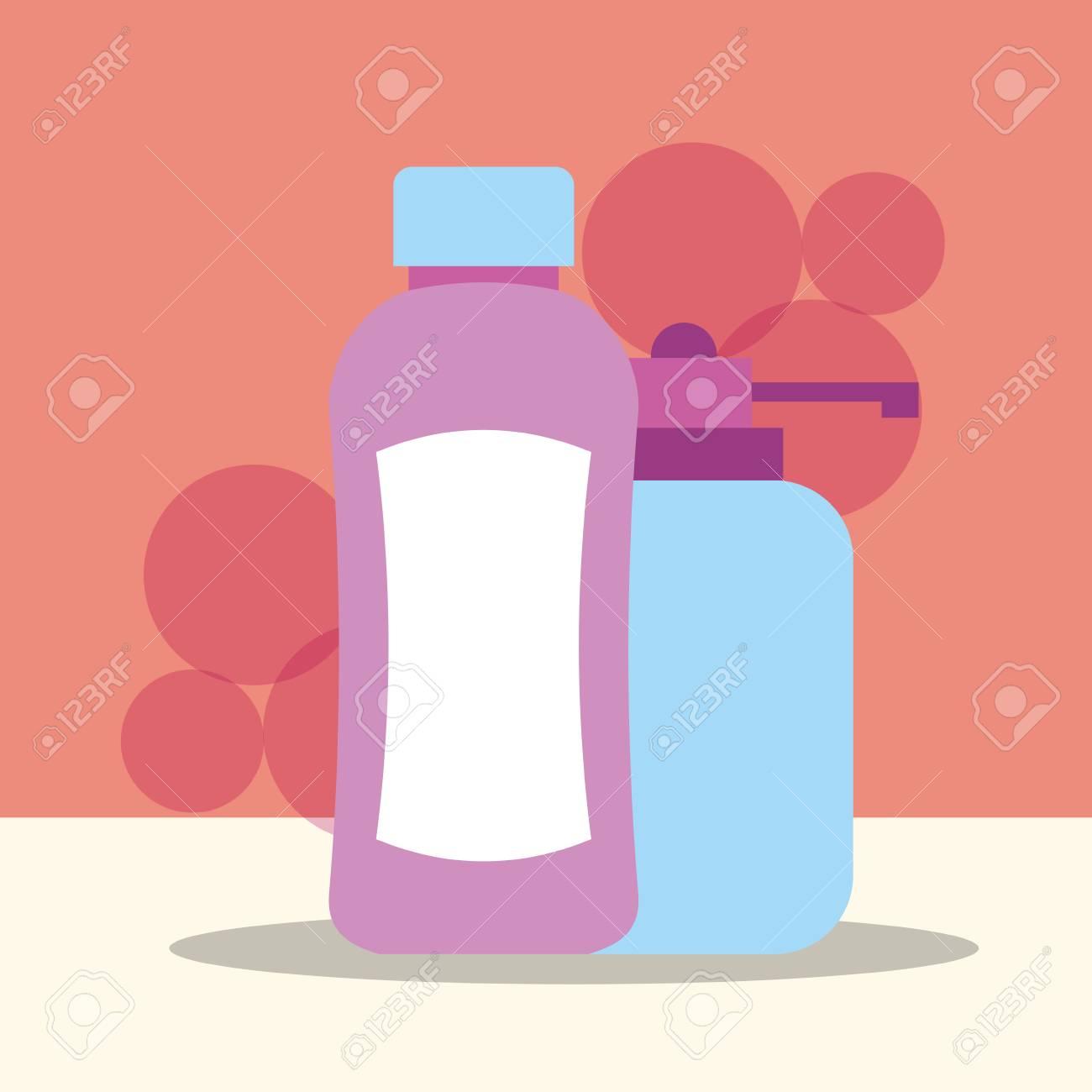 bottle shampoo and dispenser liquid soap bathroom vector illustration - 111735847