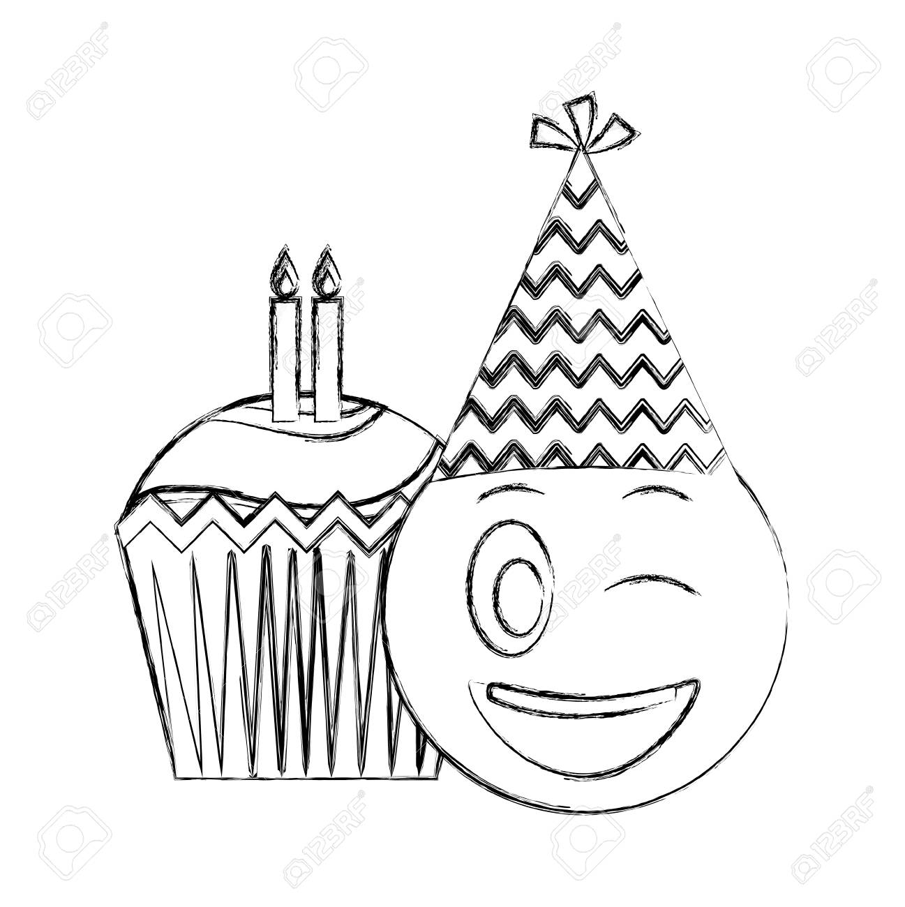 Birthday Emoji With Party Hat And Cupcakes Candles Vector Illustration Hand Drawing Standard Bild