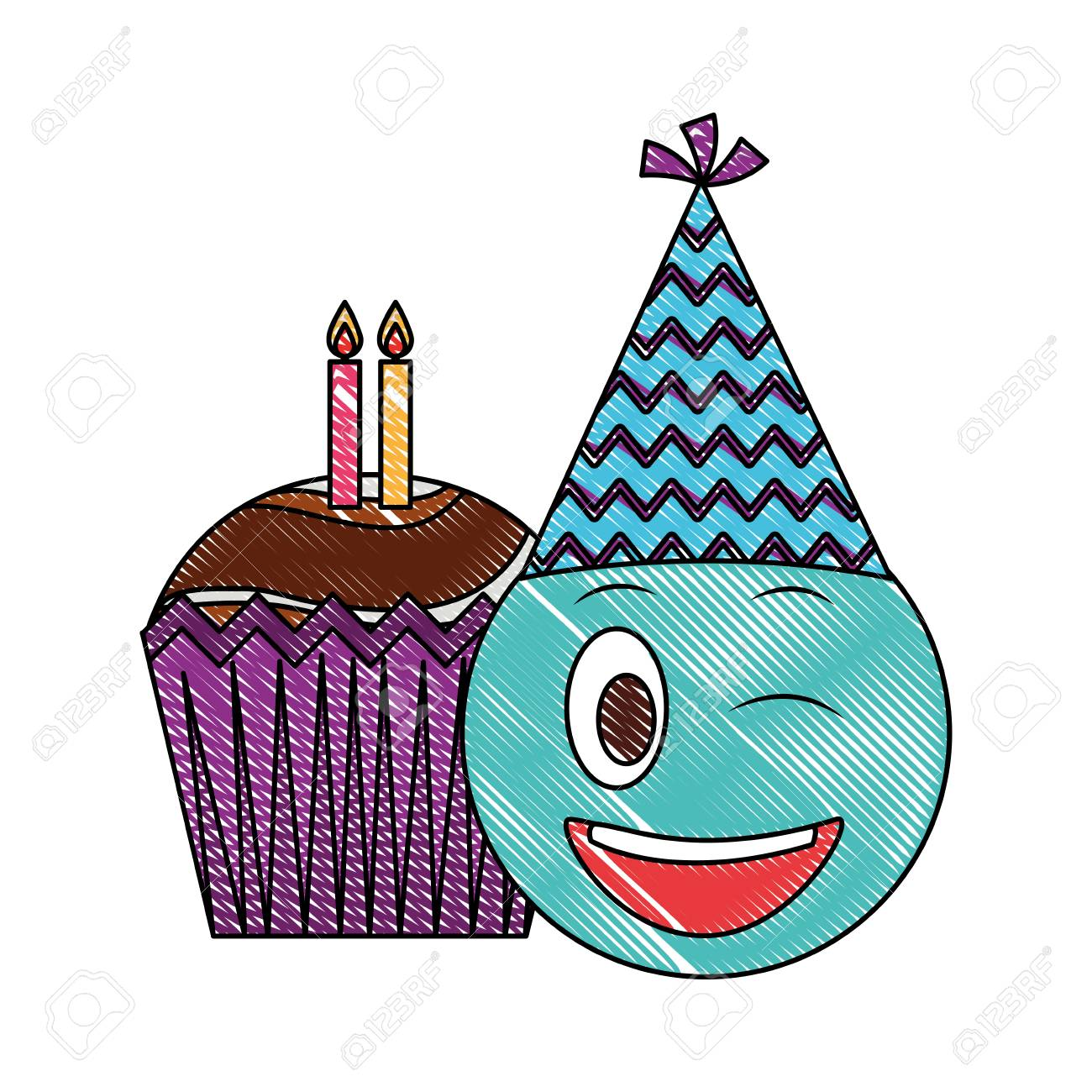 Birthday Emoji With Party Hat And Cupcakes Candles Vector Illustration Drawing Color Stock