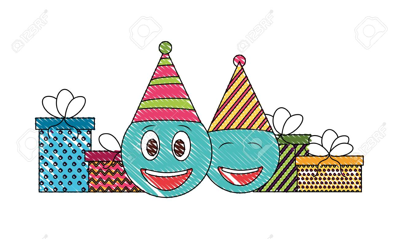 Birthday Emoji Face With Party Hat And Gifts Vector Illustration Drawing Color Stock