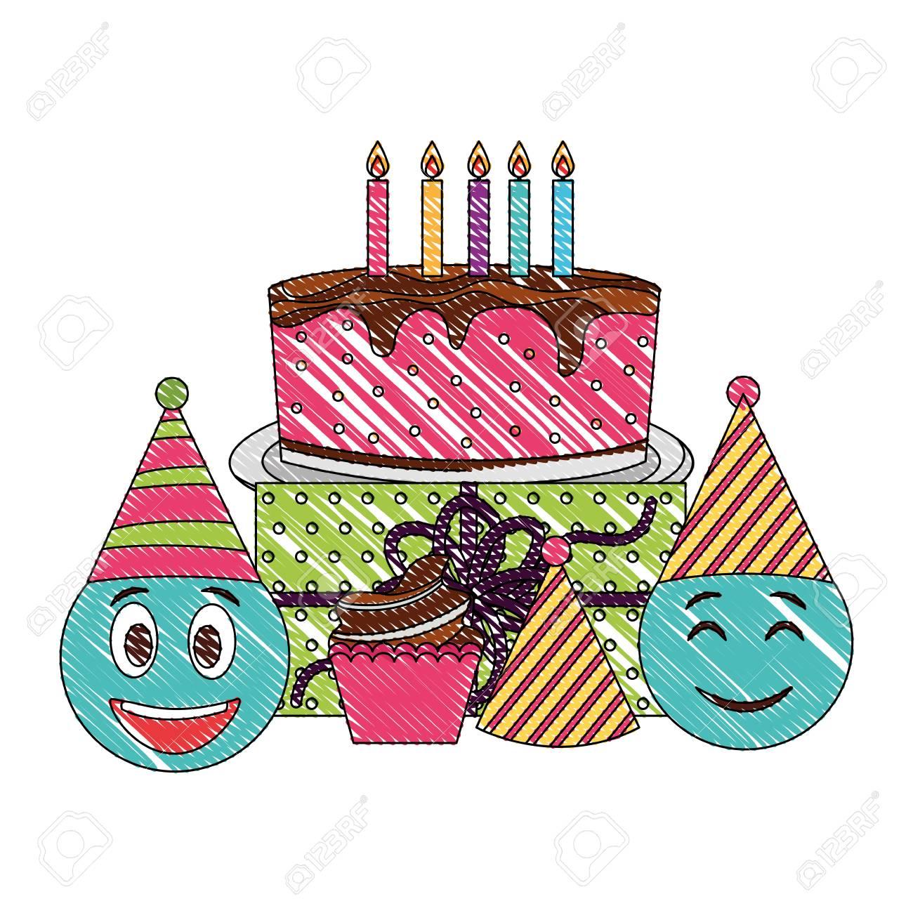 Fine Birthday Emoticon Smiley Cake Cupcake Gift And Party Hats Vector Funny Birthday Cards Online Amentibdeldamsfinfo