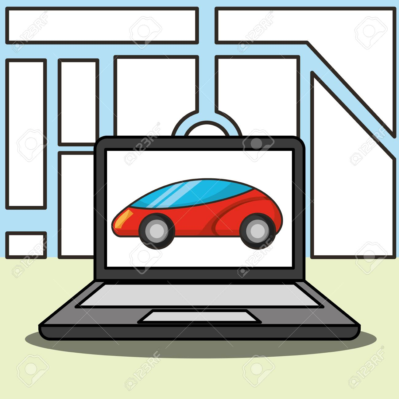autonomous car computer screen ubication vector illustration - 111614482
