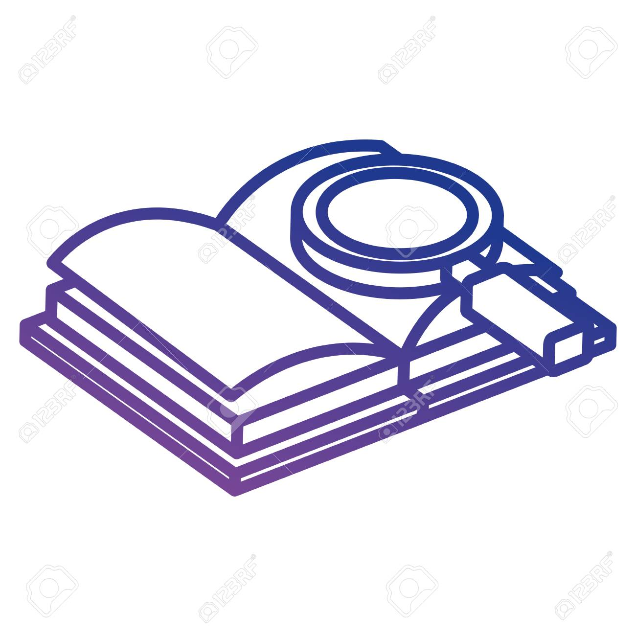 text book with magnifying glass vector illustration design - 110542669