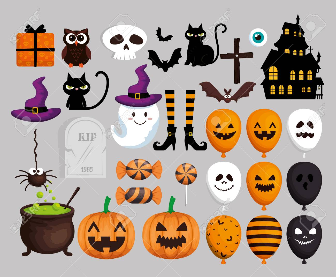 happy halloween card with set icons vector illustration design - 107346783