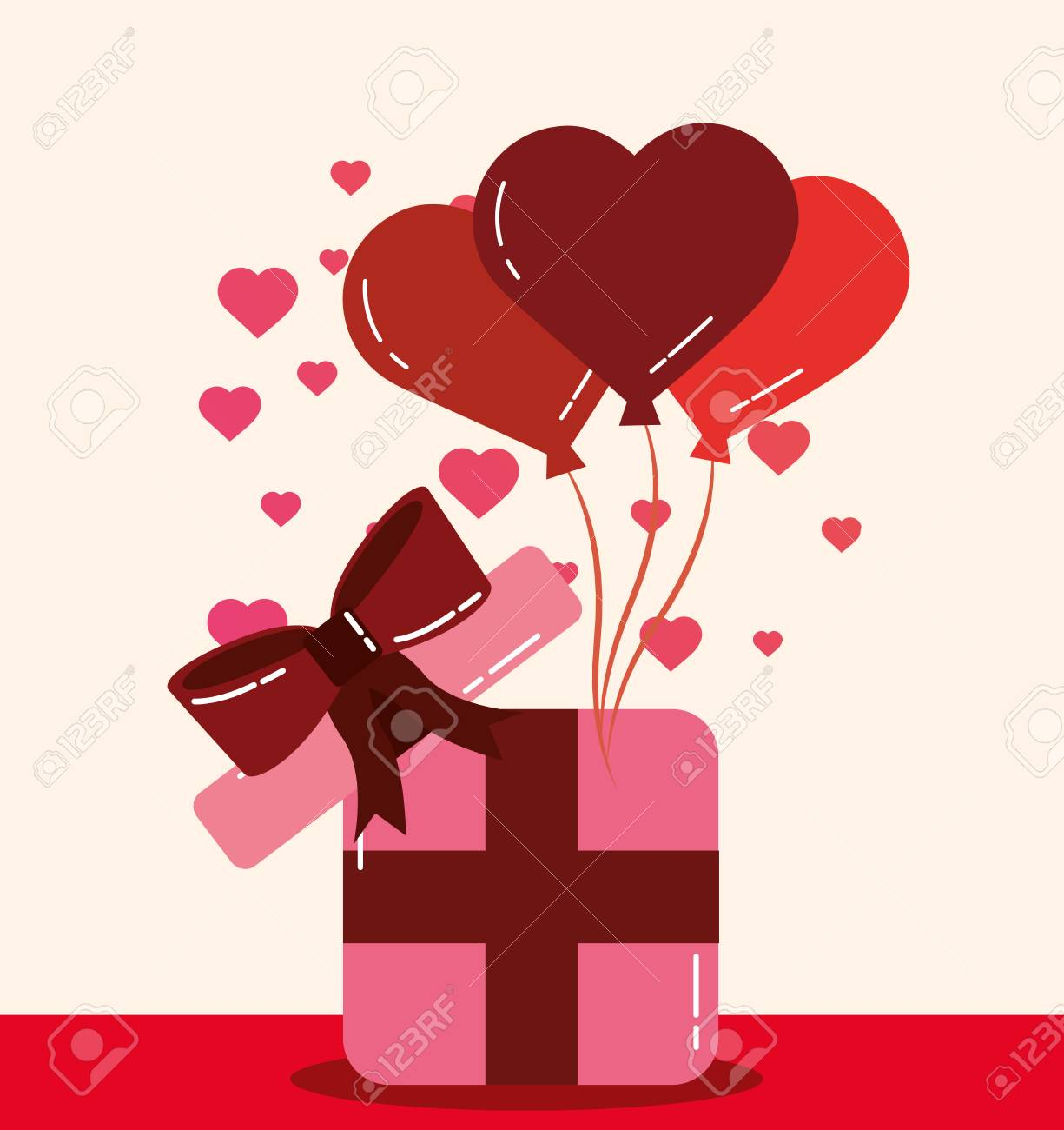 Valentines Day Love Hearts Balloons Gift Box Surprise Romantic