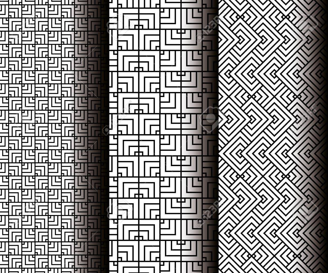 set geometrics figures in grey patterns vector illustration design - 110361088
