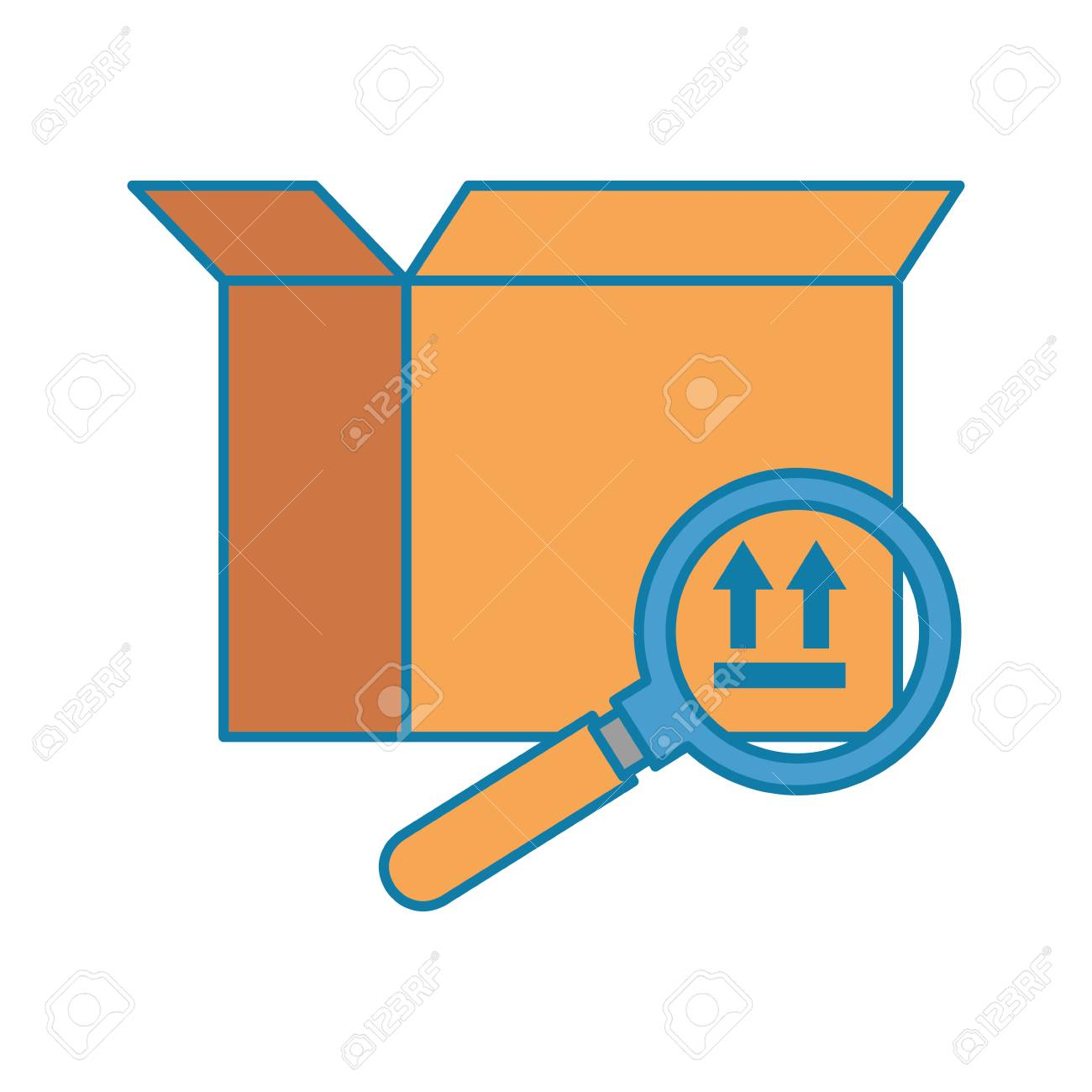 packing box carton with magnifying glass vector illustration