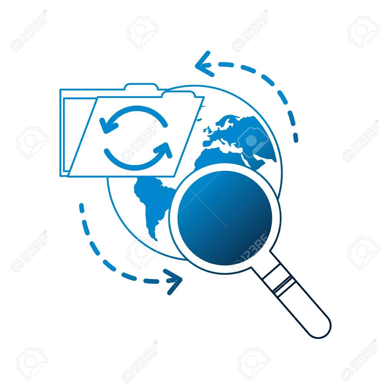 world reload folder file data searching vector illustration neon - 107975975