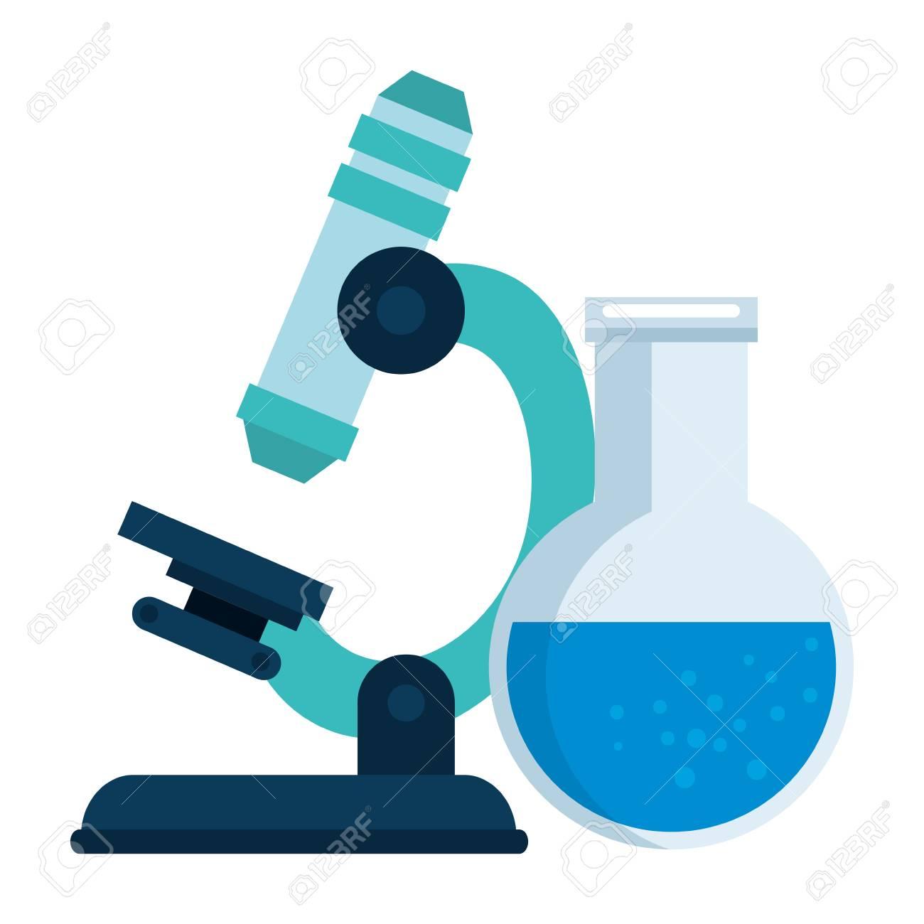 microscope laboratory with tube test vector illustration design - 110176831