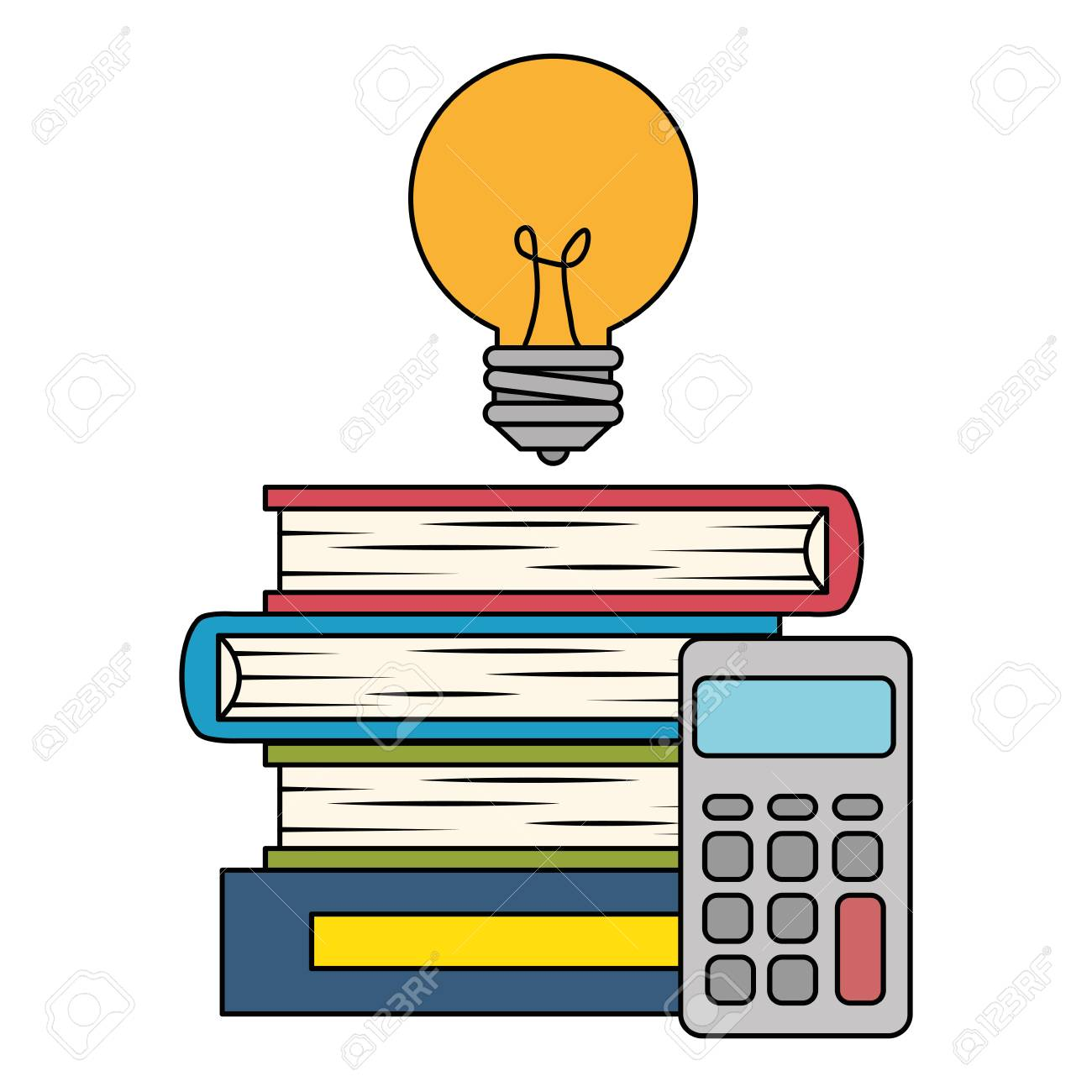 pile text books with bulb and calculator vector illustration