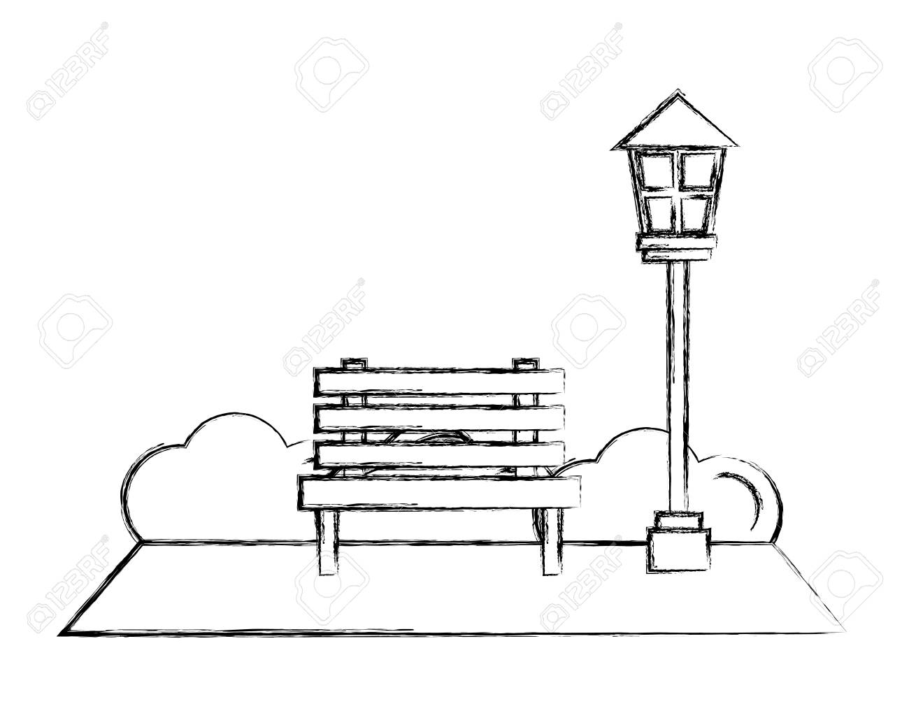 Park Bench Lamppost Bushes Natural Vector Illustration Hand