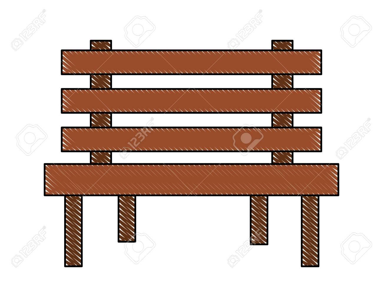 Wooden Bench Rustic Furniture Icon Vector Illustration Lizenzfrei