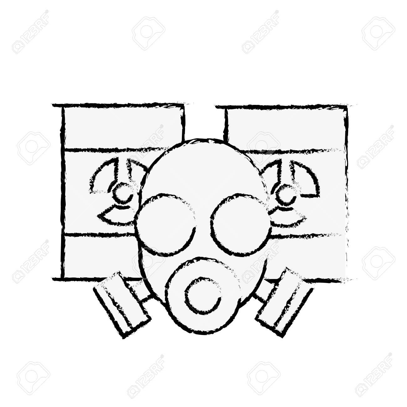 respirator protective mask and hazard barrels vector illustration hand drawing - 108263091