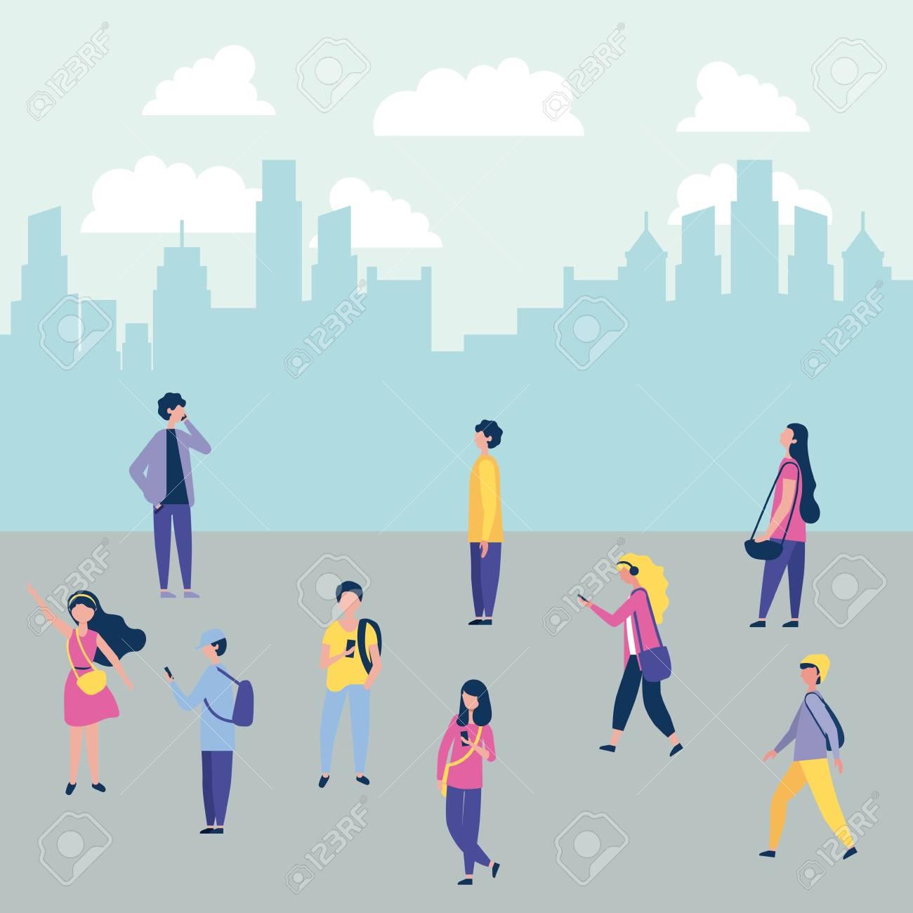 outdoor activities city people walking street vector illustration - 109952085