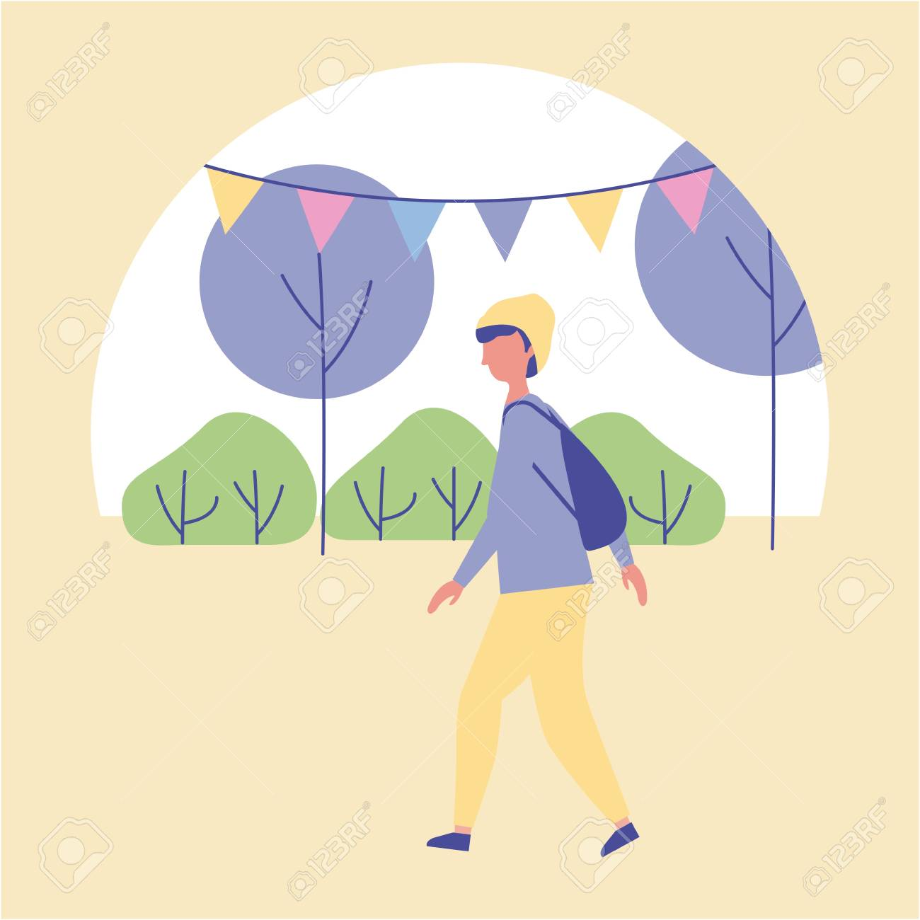 outdoor activities boy walking in the park trees and pennants vector illustration - 109952123