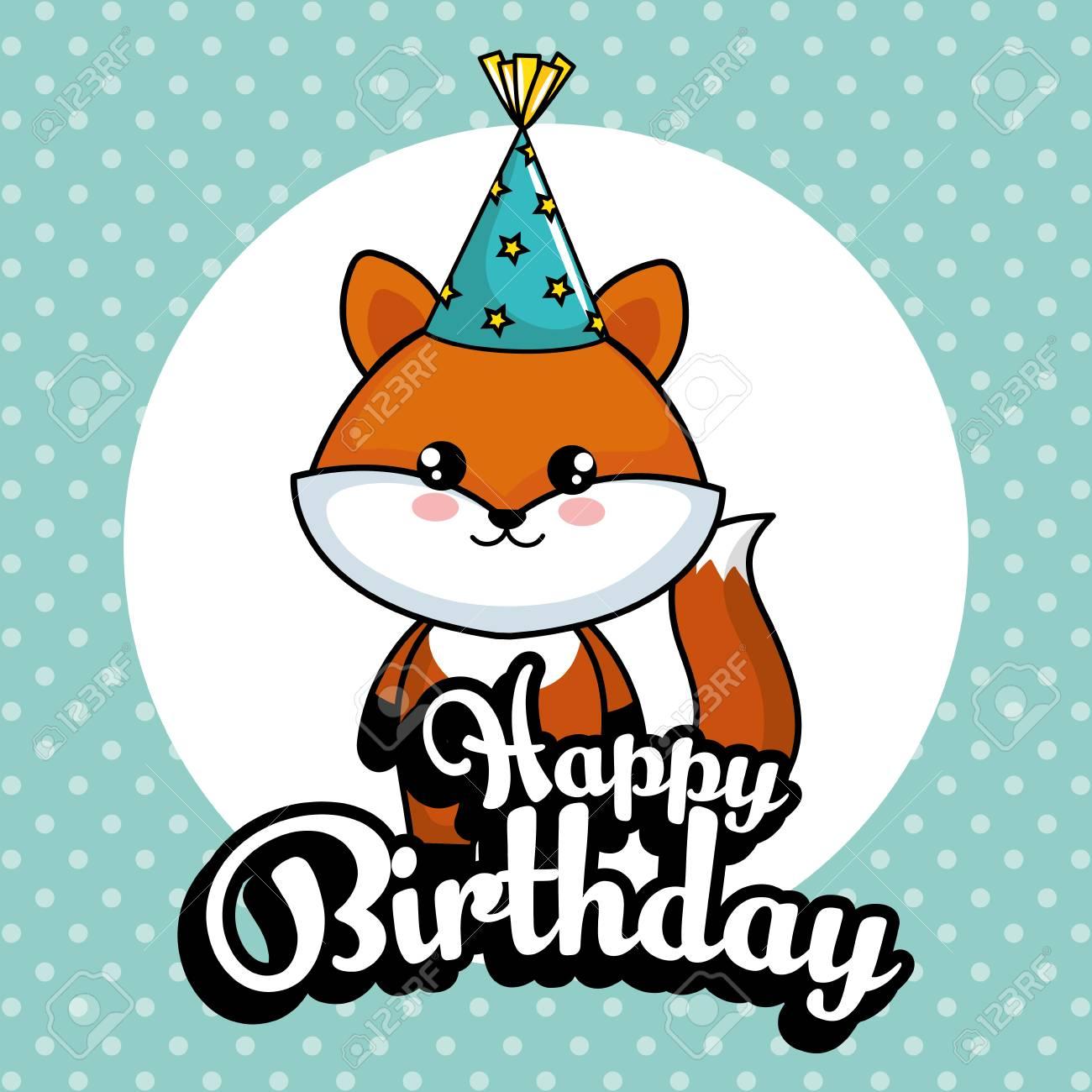 Happy Birthday Card With Cute Fox Vector Illustration Design Standard Bild