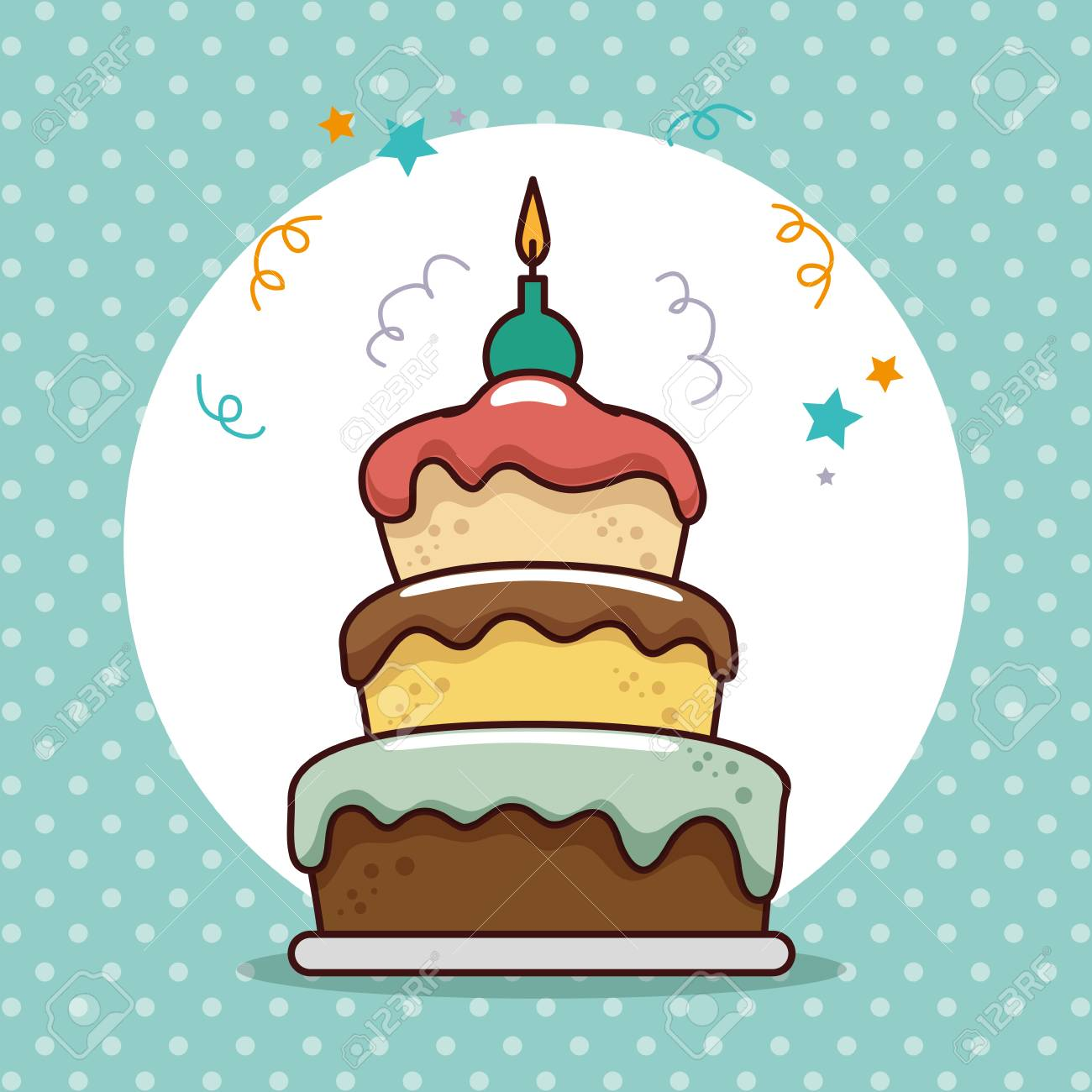 Happy Birthday Card With Sweet Cake Vector Illustration Design Standard Bild
