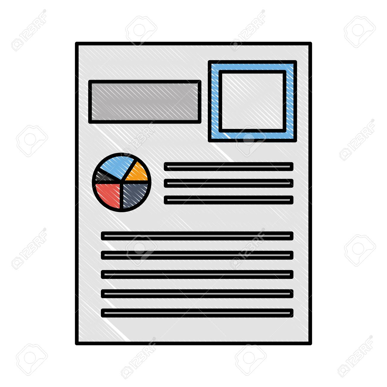 Business Resume Report Diagram Document Vector Illustration Standard Bild