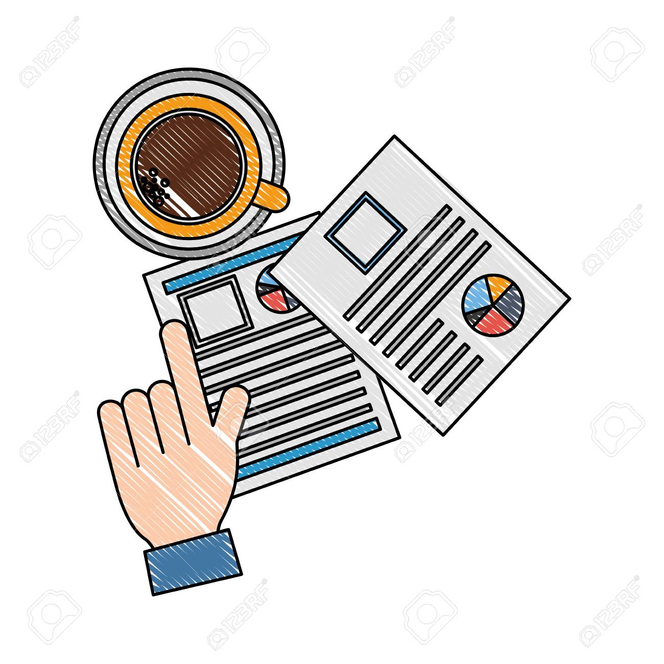 hand hiring resume documents coffee cup vector illustration - 109952649