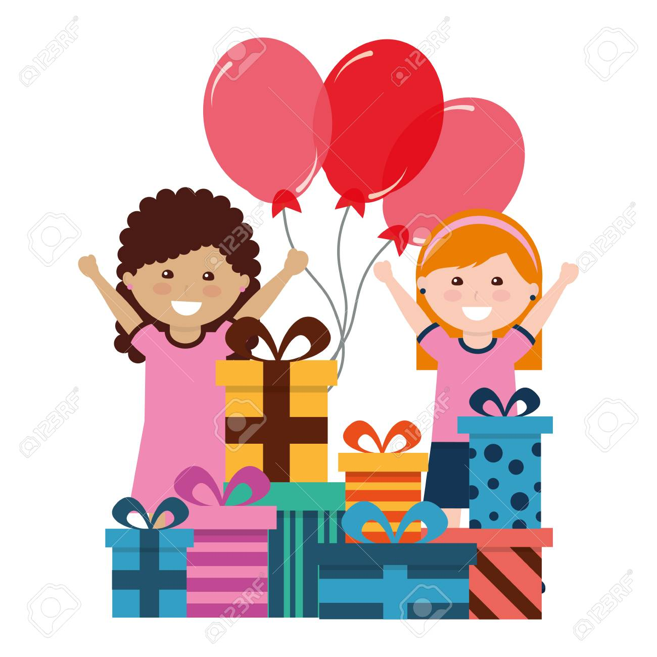Happy Girls With Birthday Gifts And Balloons Celebration Vector Illustration Standard Bild