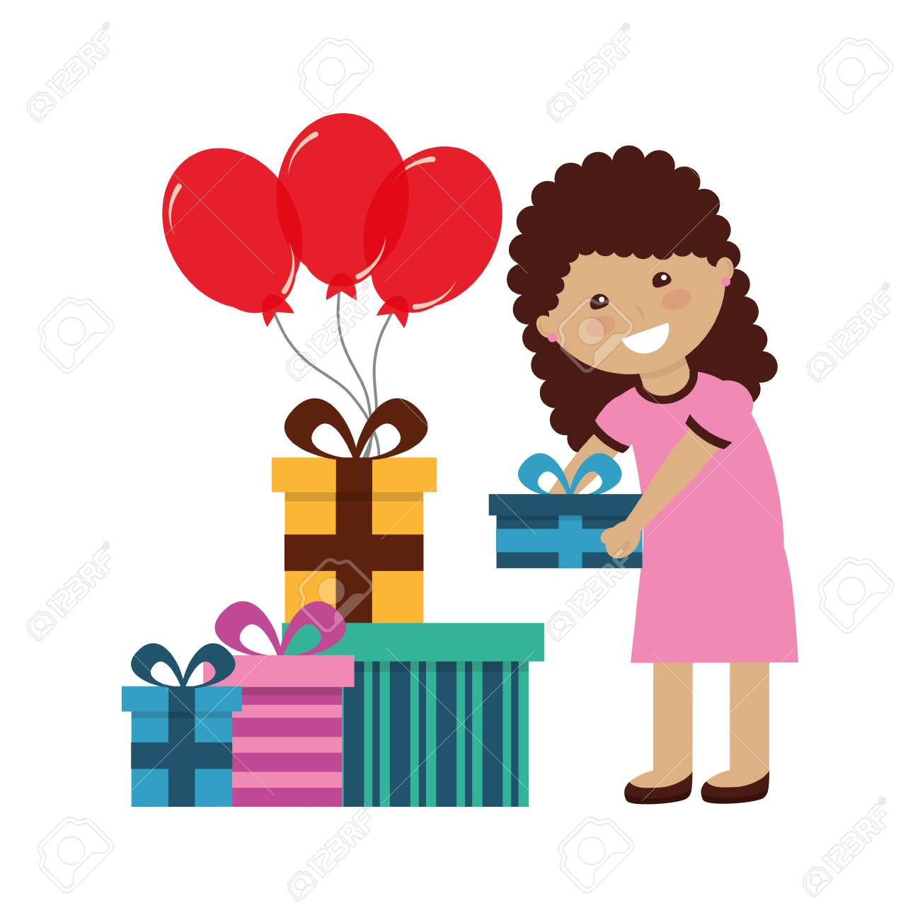 Happy Girl Holding Balloons And Birthday Gifts Vector Illustration Standard Bild