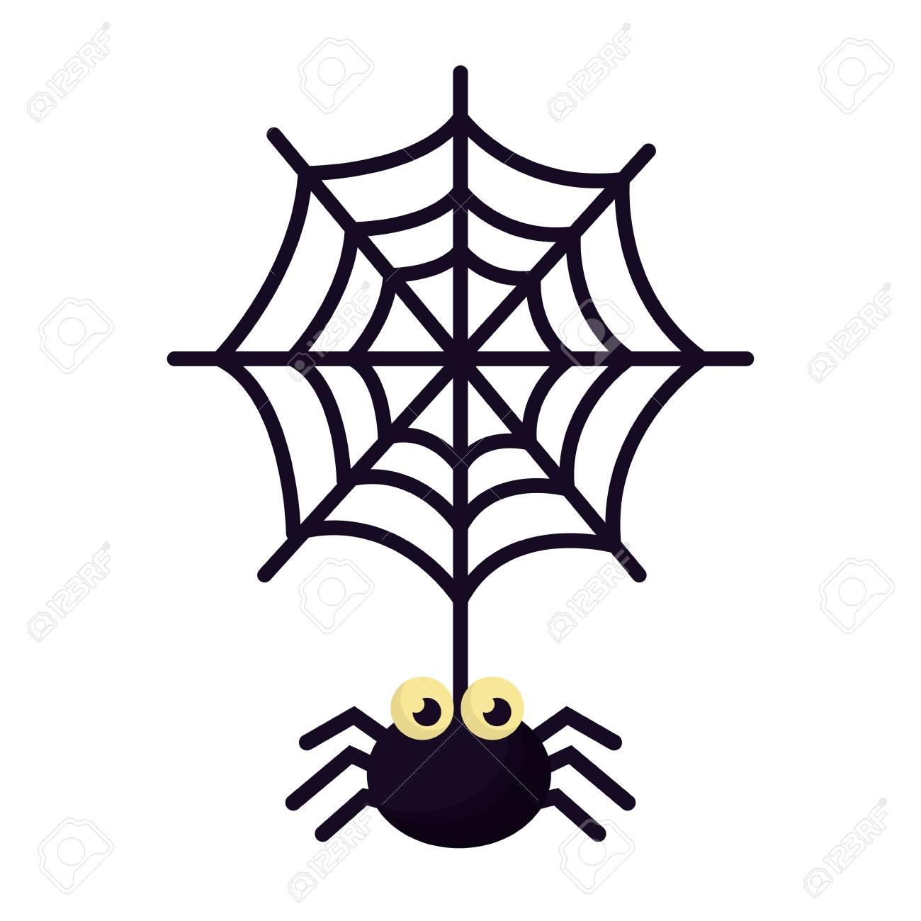 halloween spider with spiderweb isolated icon vector illustration design - 108572529