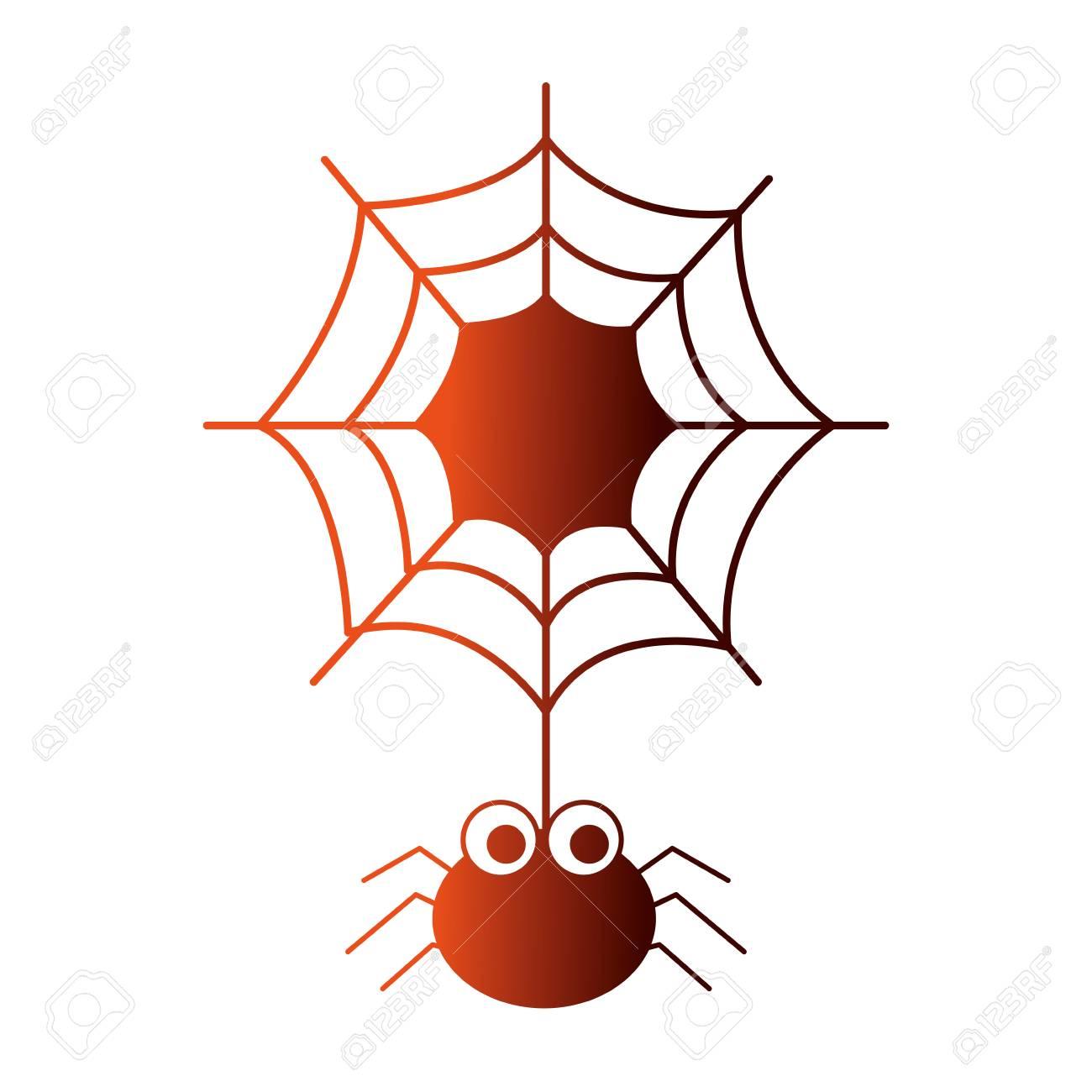 halloween spider with spiderweb isolated icon vector illustration design - 108572987