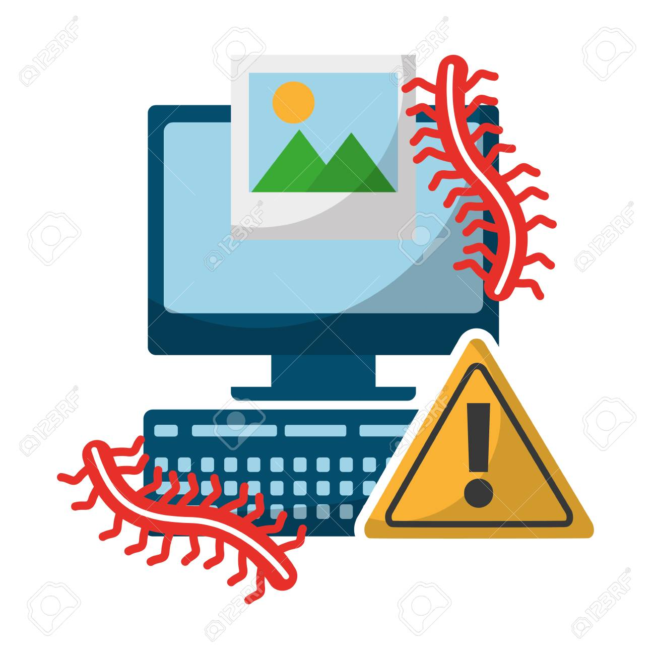 computer alert sign picture worms data protection vector illustration - 109824595