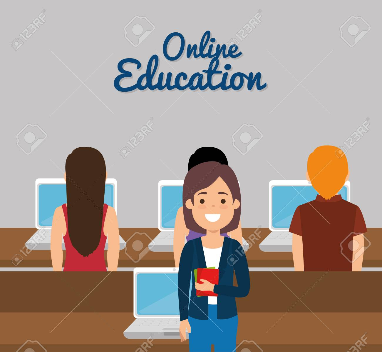 group of students with online education vector illustration design - 108757584