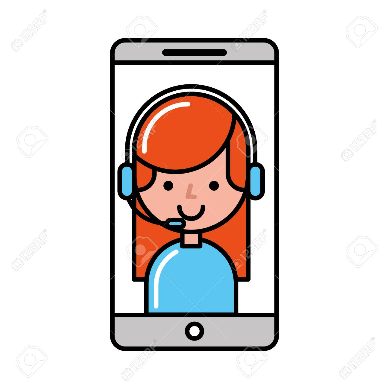 a98c4fa2e3b operator girl smartphone online shopping vector illustration Stock Vector -  109721674