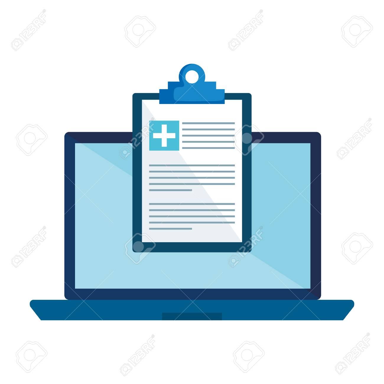 laptop with medical order vector illustration design - 109721812